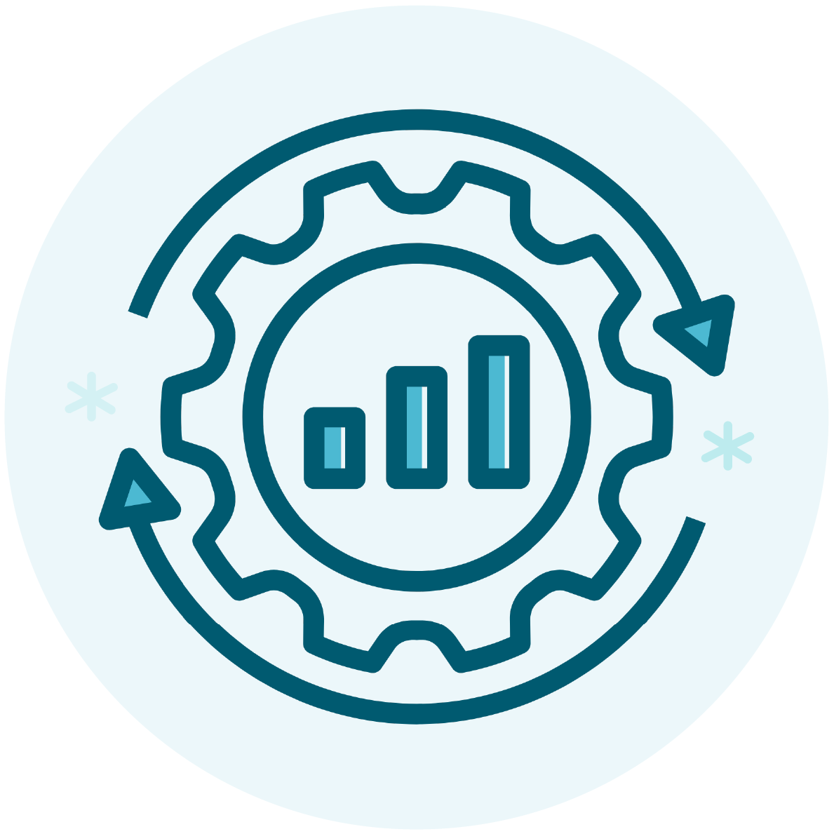Optimize Your Content. Image contents: Outline of a gear icon with a bar graph in the center. The gear is surrounded by two circular arrows.