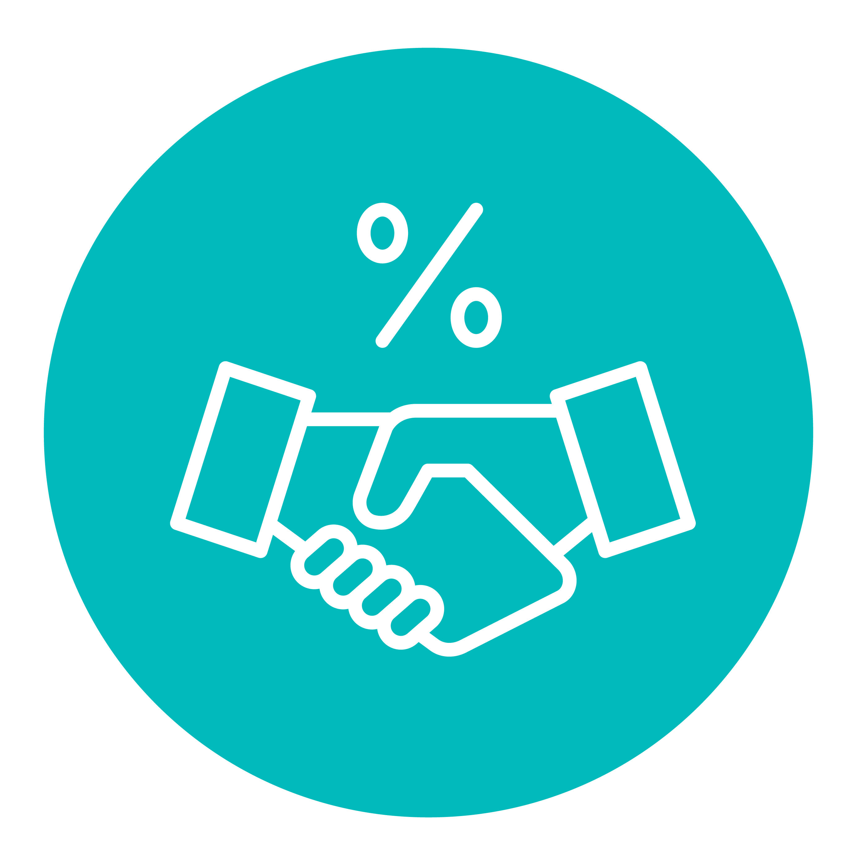 Icon of a percentage sign above a handshake