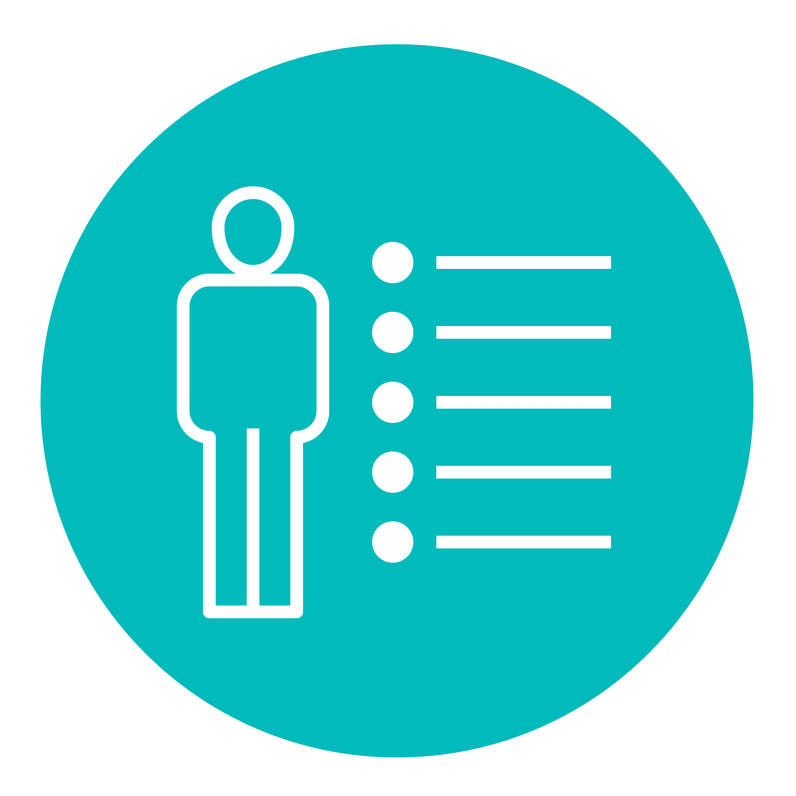 Icon of a person standing next to a bulleted list