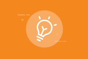 The Ultimate Guide to Content Marketing for Thought Leadership. Image contents: Orange background. White light bulb icon in the center.