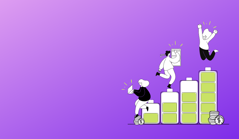 5 Ways to Supercharge Your Content Marketing Efforts. Image contents: Purple gradient background. Illustration of a bar graph made of batteries with people standing on them.