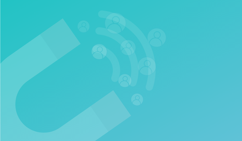 5 Ways to Attract and Convert Leads With Content. Image contents: Blue-green gradient background. In the foreground, blue icon of a U-shaped magnet with three lines coming from the ends.