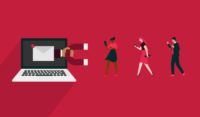 How to Write Emails Your Leads Will Actually Respond To. Image contents: Red background. A laptop illustration has an envelope on the screen. A hand is reaching out of the laptop holding a magnet. Three people are walking toward the magnet.