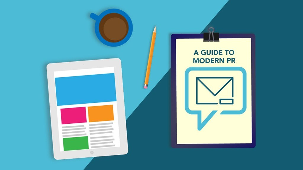 A Guide to Modern PR. Image contents: Illustration of a top view of an iPad, a cup of coffee, and a clipboard with the whitepaper on it.
