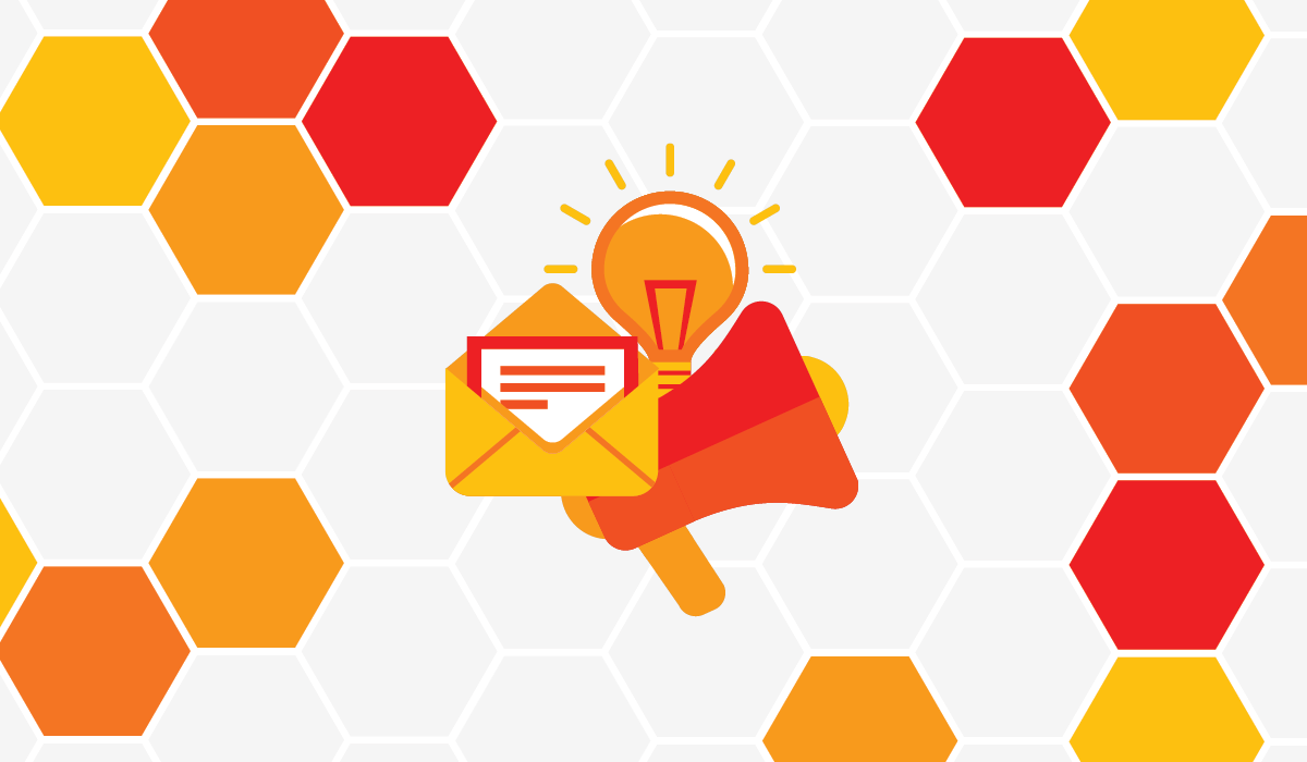 The Ultimate Guide to Content Marketing. Image contents: Gray, white, orange, and red hexagons; an envelope; a lightbulb; and a megaphone.