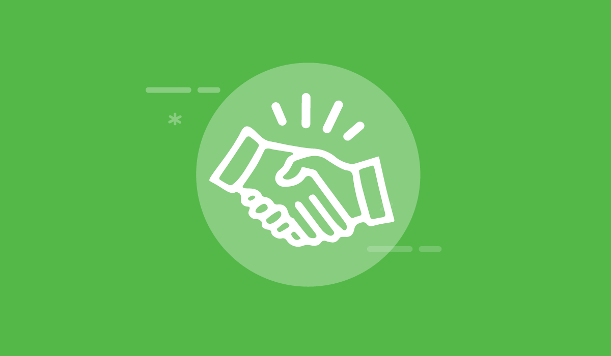 The Ultimate Guide to Content Marketing for Sales Enablement. Image contents: Green background. White hand shake icon in the center.