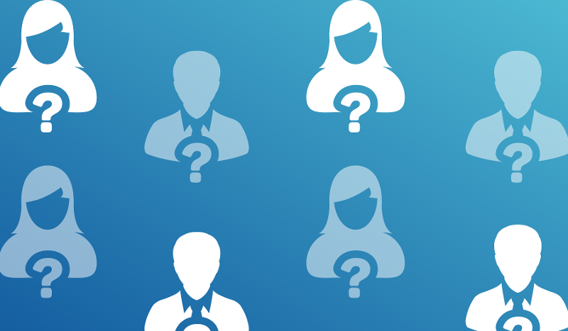 Publication Quiz. Image contents: Blue background. Illustrations of anonymous people with a question mark in front of them.